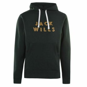 Jack Wills Batsford Wills Popover Hoodie - Dark Green