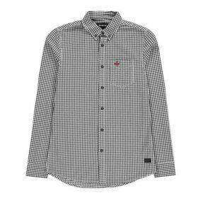 Firetrap Long Sleeve Gingham Shirt Mens - Navy/White