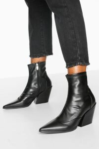 Womens Pointed Western Boots - black - 8, Black