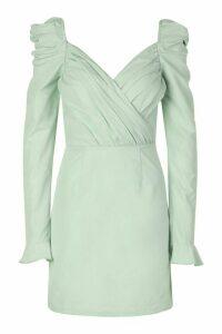 Womens Puff Sleeve Wrap Detail Skater Dress - Green - 18, Green