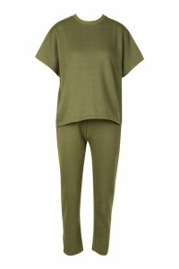 Womens Boxy T-Shirt & Jogger Co-ord - green - 14, Green