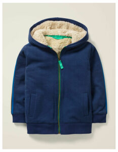 Cosy Shaggy-lined Hoodie Navy Women Boden, Navy