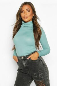 Womens Petite Rib Long Sleeved roll/polo neck Top - blue - 12, Blue