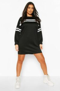 Womens Plus Stripe Oversized Sweat Dress - Black - 26, Black