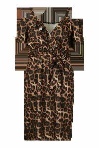 Womens Plus Leopard Ruffle Wrap Midi Dress - Brown - 28, Brown