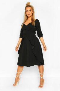 Womens Plus Ruffle Detail Wrap Midi Dress - black - 20, Black