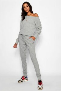 Womens Tall Slash Neck Knitted Lounge Set - grey - M/L, Grey