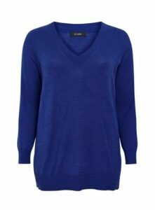 Blue V-Neck Jumper, Cobalt