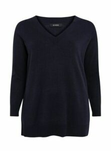 Navy Blue V-Neck Jumper, Navy