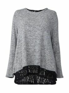 **Izabel Curve Grey Lace Trim Jumper, Grey