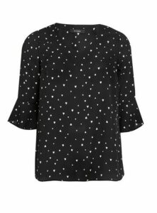 Black Heart Print Frill Sleeve Top, Black