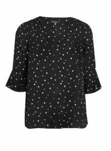 Black Heart Frill Sleeve Top, Black