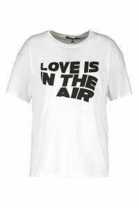 Womens Plus Love Is In The Air Slogan T-Shirt - white - 24, White