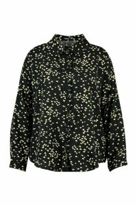 Womens Plus Heart Print Oversized Shirt - black - 20, Black