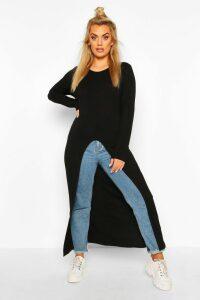 Womens Plus Front Split Maxi Top - Black - 18, Black