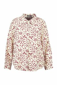Womens Plus Heart Print Oversized Shirt - White - 24, White
