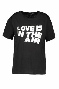 Womens Plus Love Is In The Air Slogan T-Shirt - black - 20, Black