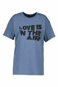 Womens Plus Love Is In The Air Slogan T-Shirt - blue - 20, Blue