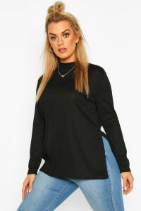 Womens Plus Split Hem Tunic Top - Black - 28, Black