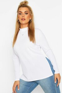 Womens Plus Split Hem Tunic Top - white - 28, White