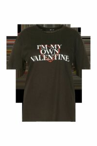 Womens Plus My Own Valentine Slogan T-Shirt - black - 20, Black