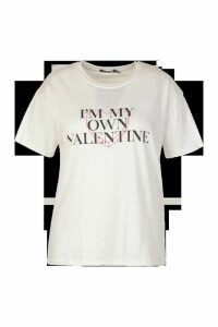 Womens Plus My Own Valentine Slogan T-Shirt - White - 20, White