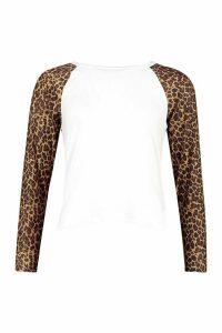 Womens Petite Leopard Print Raglan T-Shirt - White - 4, White