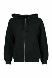 Womens Petite Zip Up Basic Hoodie - black - M, Black
