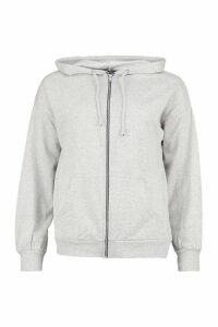 Womens Petite Zip Up Basic Hoodie - grey - XS, Grey