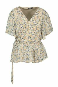 Womens Plus Floral Angel Sleev Wrap Peplum Top - beige - 20, Beige