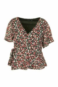 Womens Plus Floral Angel Sleev Wrap Peplum Top - black - 20, Black
