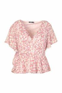 Womens Plus Floral Angel Sleev Wrap Peplum Top - Pink - 20, Pink