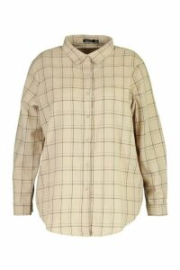 Womens Plus Check Oversized Shirt - beige - 16, Beige