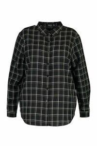 Womens Plus Check Oversized Shirt - black - 20, Black