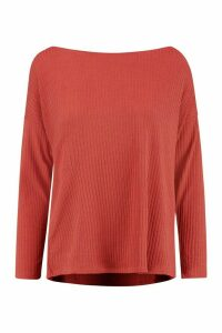 Womens Tall Off The Shoulder Rib Knit Jumper - orange - 14, Orange