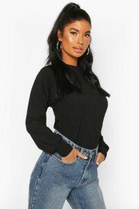 Womens Petite Ribbed Long Sleeve Top - black - 14, Black