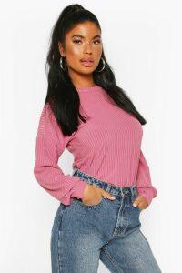 Womens Petite Ribbed Long Sleeve Top - Pink - 10, Pink