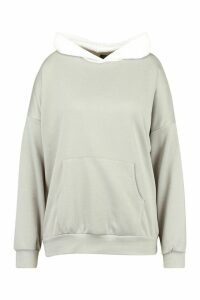 Womens Plus Contrast Colour Block Hoody - Grey - 18, Grey