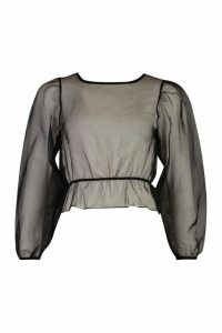Womens Petite Volume Sleeve Organza Top - black - 14, Black