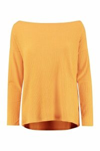Womens Tall Off The Shoulder Rib Knit Jumper - yellow - 14, Yellow