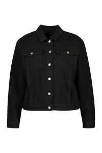 Womens Plus Western Denim Jacket - black - 24, Black