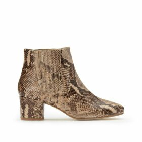 Leather Ankle Boots with Block Heel in Snakeskin Effect