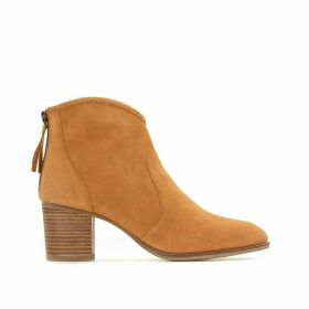 Suede Ankle Boots with Block Heel
