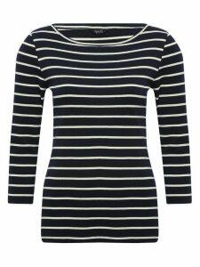 Women's Ladies spirit navy striped v-neck top