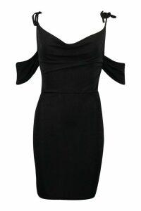 Womens Textured Slinky Strappy Cowl Neck Mini Dress - black - 14, Black