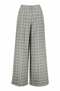 Womens Check Wide Leg Tailored Trousers - grey - 14, Grey