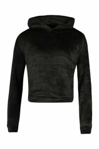 Womens Velour Oversized Hoodie - black - 16, Black