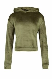 Womens Velour Oversized Hoodie - Green - 14, Green