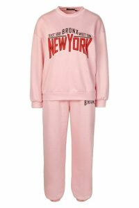Womens Bronx New York Oversized jumper Tracksuit - Pink - 16, Pink