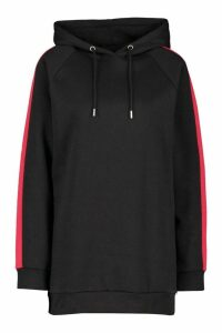 Womens Constrast Panel Ovesized Hoody - black - 6, Black